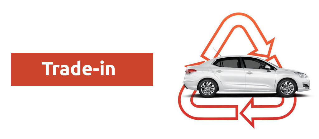 trade-in scheme with a car on top of the arrows in exchange motion