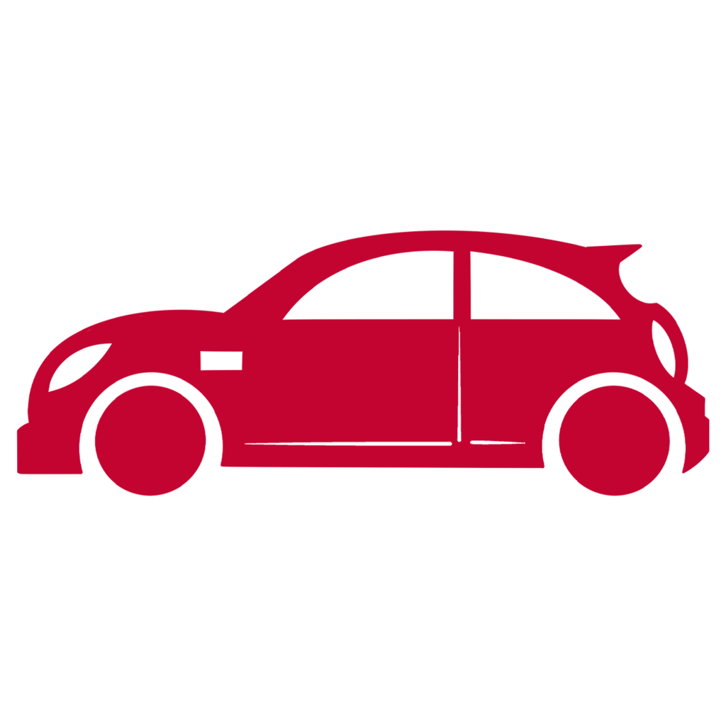 a sign of a car in a red color