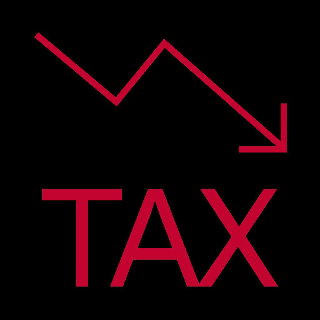 tax sign with an arrow down