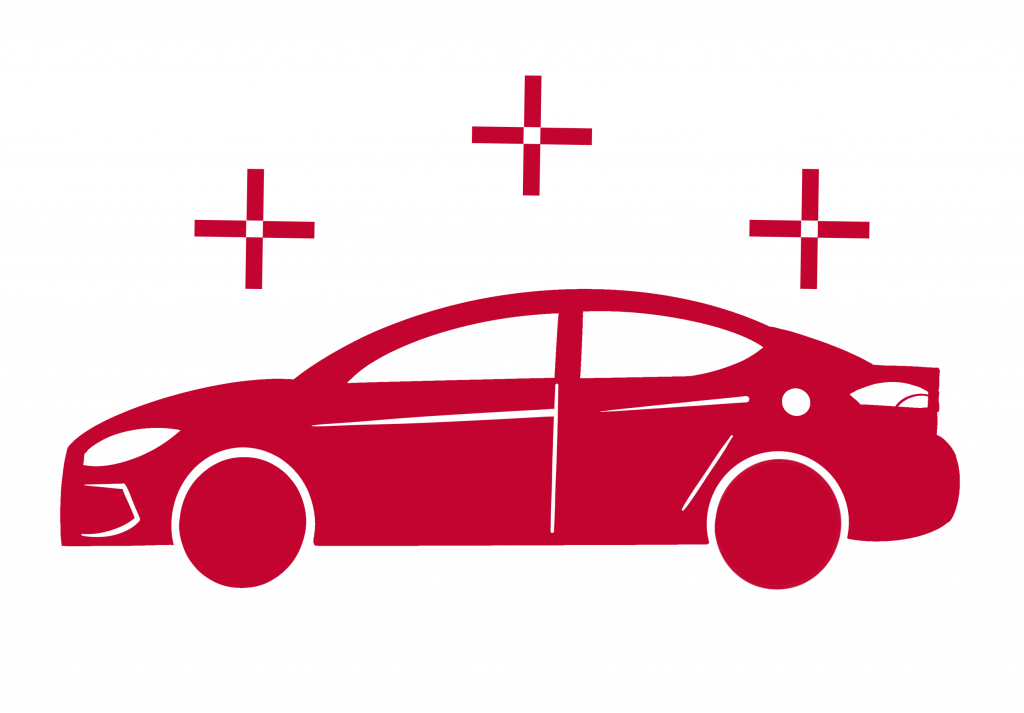 a sign of a red car with three crosses