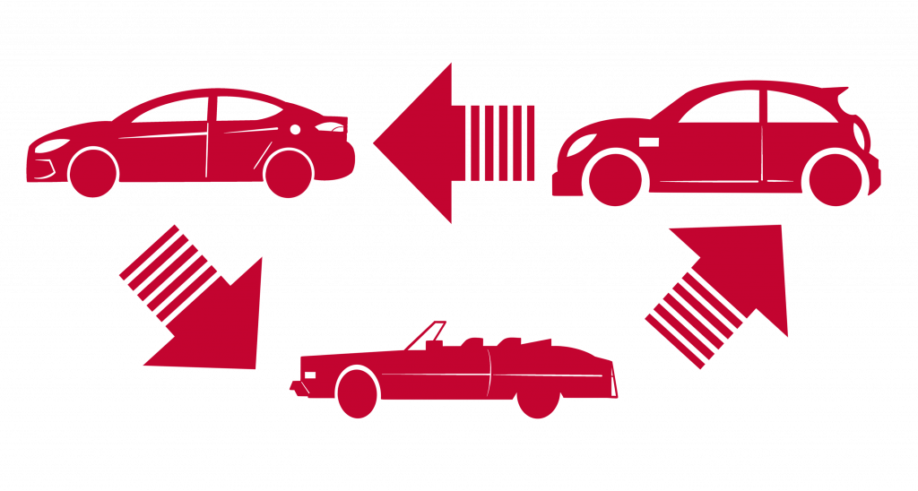 a sign of tree types of cars in exchange motion