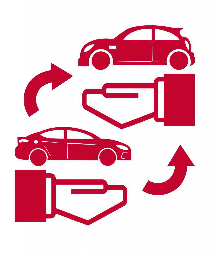 a sign of two hands, two cars and two arrows in exchanging motion